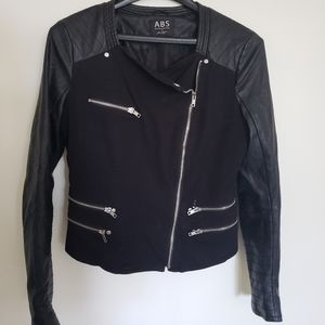 ABS by Allen Schwartz Faux Leather & Denim Jacket